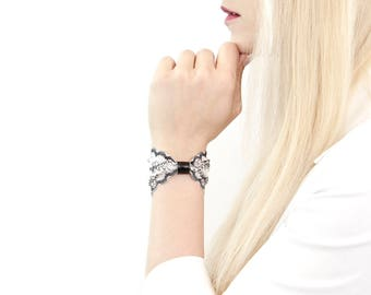 Lace Bow Bracelet, Lace Wrist Cuff Floral Bracelet Bowtie Bracelet Vegan Leather Wrist Tattoo Cover Up Lace Cuff Bracelet Lace Wrist Cover