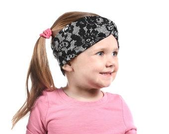 Girl Lace Headband Black Lace Twist Headband, Girl Turban Headbands, Kids Headband, Winter Toddler Headband, Child Headband Christmas Gift