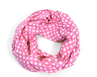 Polka Dot Infinity Scarf, Pink Scarf, Pink Womens Scarf, Sister Gift for Her Mother Gift, Polka Dot Scarf, Spring Scarf, Spring Fashion