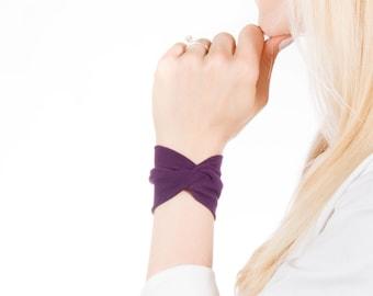 Purple Bracelet, Wrist Cuff Bracelet, Jersey Bracelet, Fabric Cuff Bracelet, Twist Bracelet Bow Bracelet, Wrist Tattoo Cover Up Wrist Covers