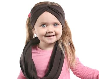Girls Scarf Gift Set, Scarf Headband Set, Girls Christmas Gift Set, Brown Scarf, Infinity Scarf Kids Infinity Scarf Set Christmas Gift Ideas