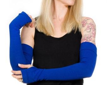 Long Fingerless Gloves Women, Royal Blue Gloves, Cobalt Blue Gloves Long Arm Warmers Costume Gloves Arm Cover Tattoo Cover Up Tardis Blue