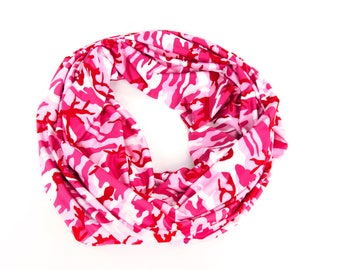 Pink Camo Scarf, Pink Camo Infinity Scarf Pink Camoflauge Scarf Fall Scarf Pink Camoflauge Infinity Scarf Womens Scarves Sister Gift for Her