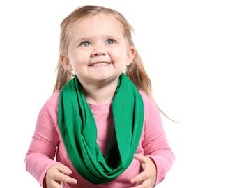 Girls Scarf Green Kids Scarf, Girls Infinity Scarf, Childs Scarf, Green Infinity Scarf, Kids Infinity Scarf Green Gift Kid Christmas Scarf