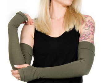 Extra Long Fingerless Gloves Women, Olive Gloves, Green Gloves, Long Arm Warmers, Costume Gloves, Arm Cover Tattoo Cover Up, Yoga Gloves