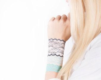 Lace Wrist Cuff SET, Lace Bracelet SET, Nursing Bracelet, Boho Bracelet, Arm Band, Wrist Cover, Wristband Wrist Tattoo Cover Up, Scar Cover