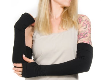 Long Fingerless Gloves Women, Long Arm Warmers, Elbow Length Gloves, Arm Sleeves Costume Gloves, Black Gloves, Arm Cover Tattoo Cover Up
