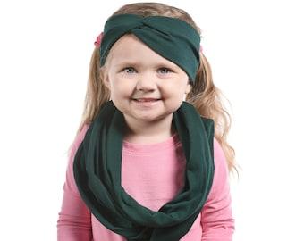 Little Girls Scarf Headband Set, Girls Infinity Scarf, Christmas Gift Set, Green Scarf, Christmas Scarf Headband Gift Set, Girls Gift Ideas