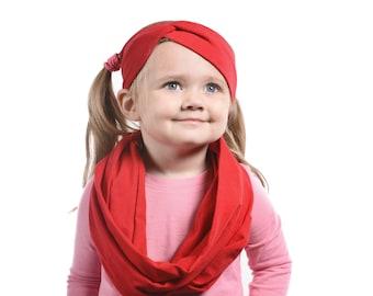 Little Girls Scarf Headband Set, Girls Christmas Gift, Red Scarf, Red Christmas Scarf Headband Gift Set Christmas Gift Ideas, Infinity Scarf