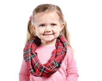 Girls Infinity Scarf, Tartan Plaid Scarf Kid Flannel Scarf, Royal Tartan Scarf Child Infinity Scarf Kids Christmas Scarf Girl Christmas Gift