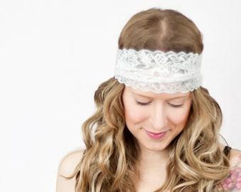 Wrap Lace Headband Wide Birthday White Wedding NB-Teen You Choose Size