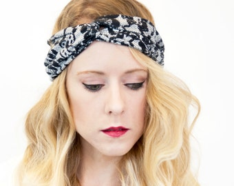 Lace Twist Headband, Black Womens Turban Beauty Gift Clothing Gift Adult Headband White Workout Headband, Fitness Headband, Gift for Her