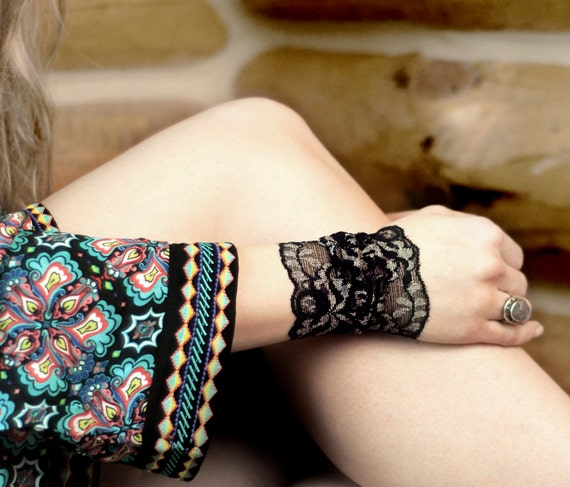 Lace Wrist Cuff Black Lace Bracelet Arm Band Black Bracelet Etsy
