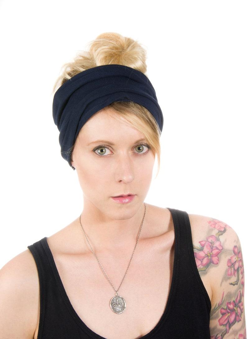 Scrunch Headband Women Navy Headband Extra Wide Headband image 0