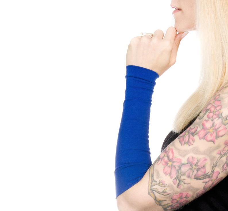 Long Cuff Bracelet Blue Forearm Cover Royal Arm Sleeves image 0