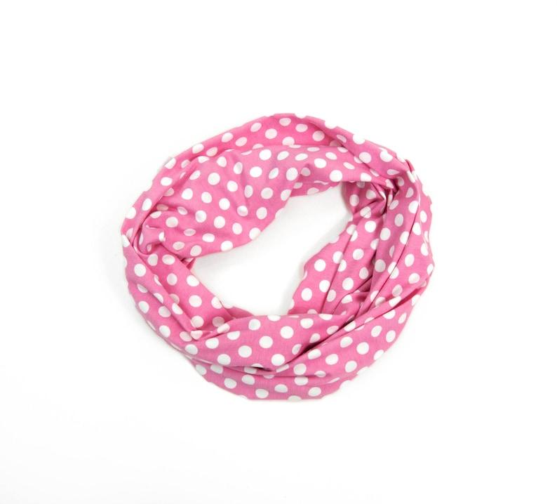 4470057b3ace Girls Infinity Scarf Polka Dot Scarf Childs Scarf Pink