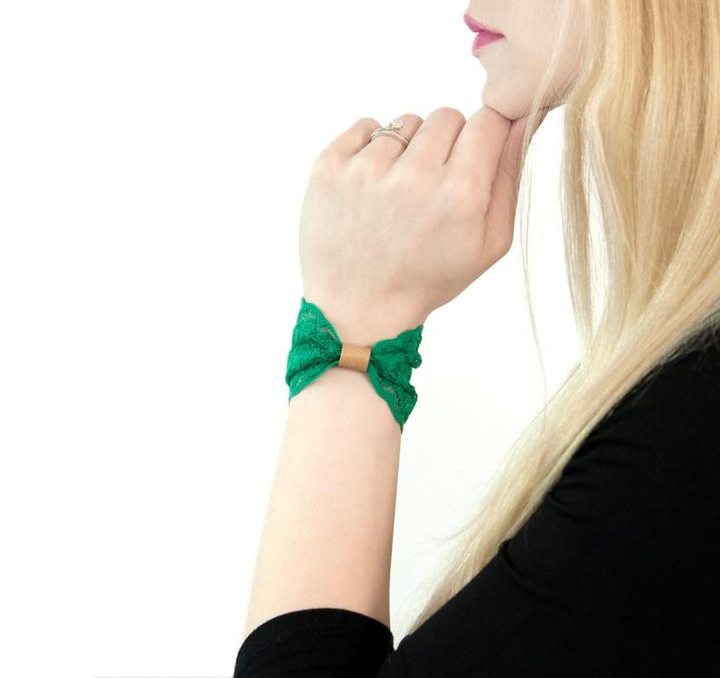 Lace Wrist Cuff Bow Bracelet Shamrock Green Bracelet image 0