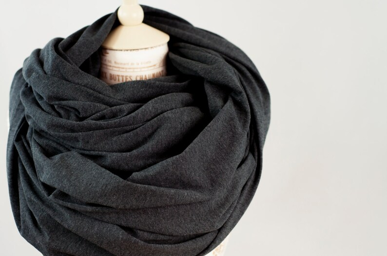Oversized Infinity Scarf Chunky Scarf Mens Scarf Grey Scarf Big Scarf Large Winter Scarf Hooded Scarf Gift for Her Christmas Gift Ideas
