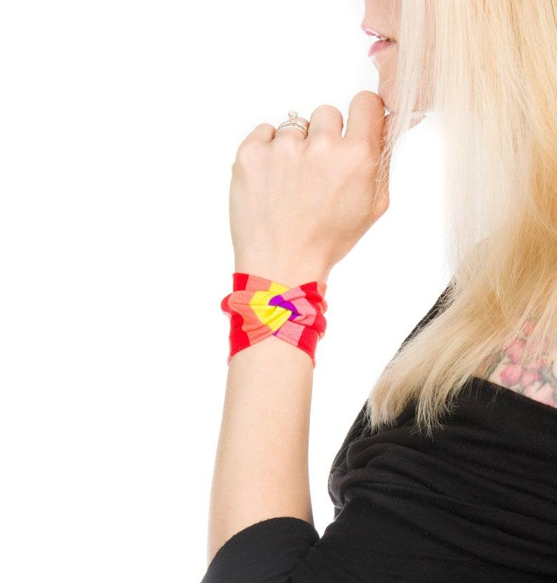 Rainbow Bracelet Wrist Cuffs Bracelet Rainbow Cuff Twist image 0