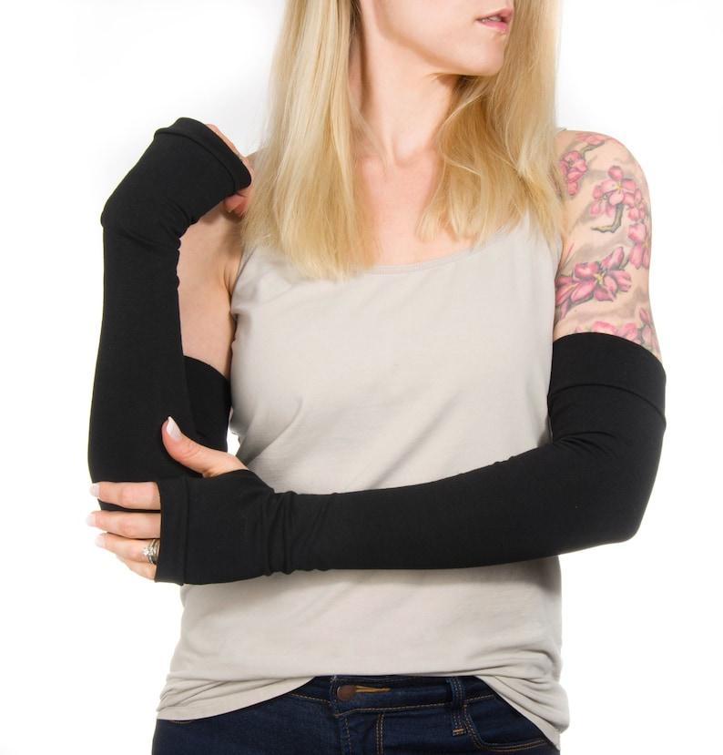 Long Fingerless Gloves Women Long Arm Warmers Elbow Length image 0