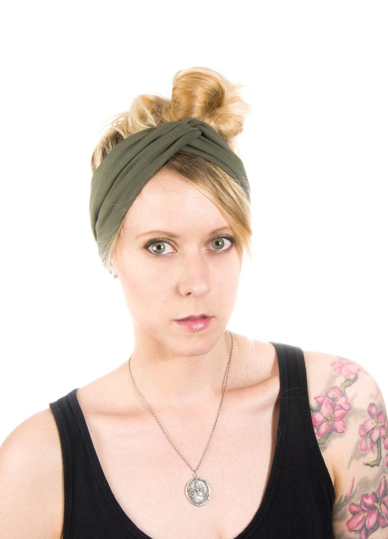 Wide Twist Headband Scrunch Headband Extra Wide Olive image 0