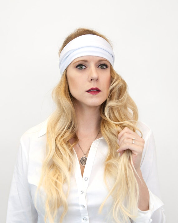 Wide White Headband Adult Sports Exercise Head Bands Women  528508710a