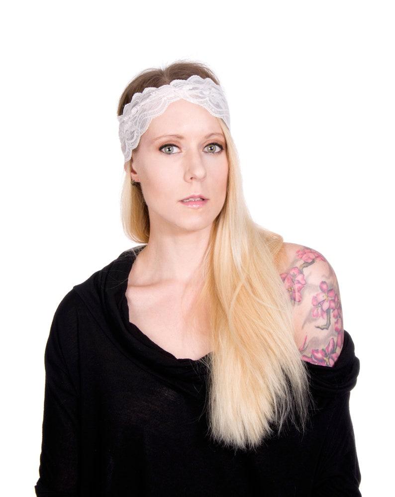 Ivory Lace Headband Twist Headband Bridal Turban Headband image 0