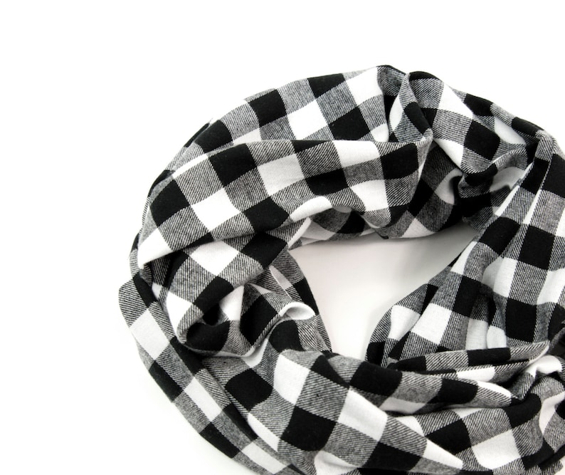 Buffalo Plaid Scarf Plaid Infinity Scarf Black Buffalo Check image 0