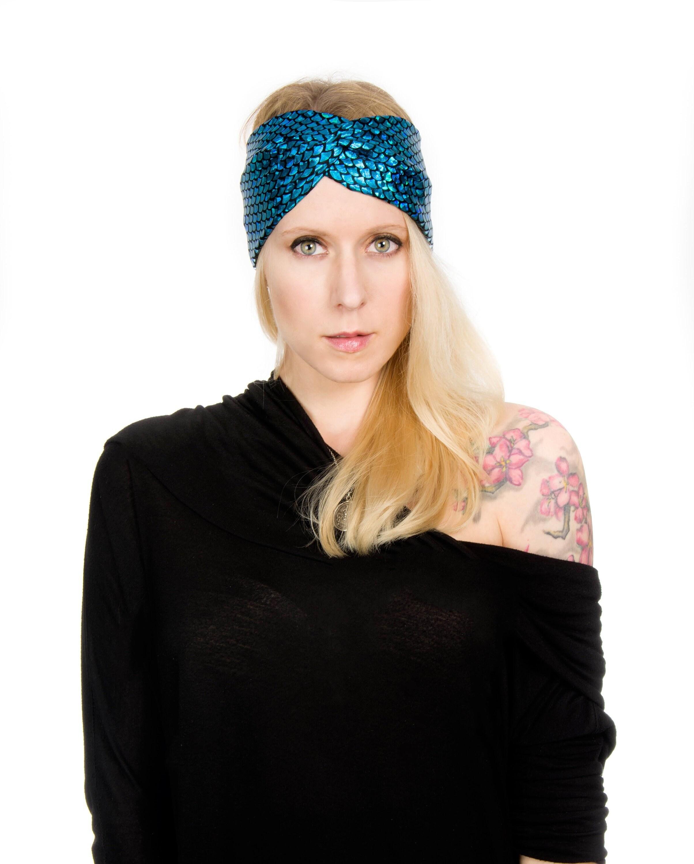 Metallic Twist Headband Turband Black