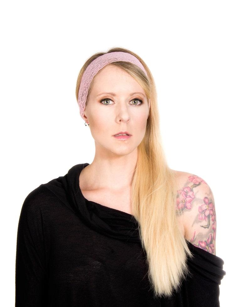Pink Lace Headband Women Pink Headband Twist Headband Pink image 0