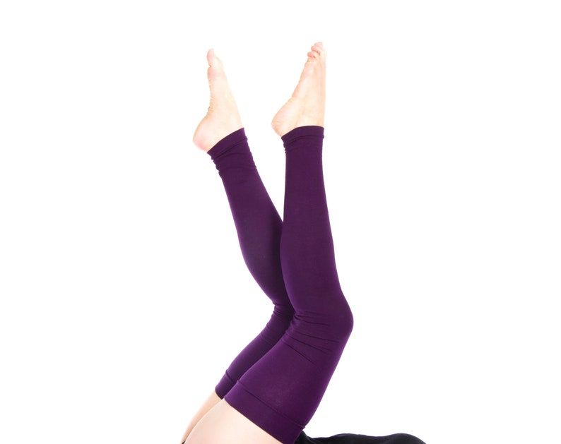 Extra Long Leg Warmers Women Thigh High Over the Knee Purple image 0