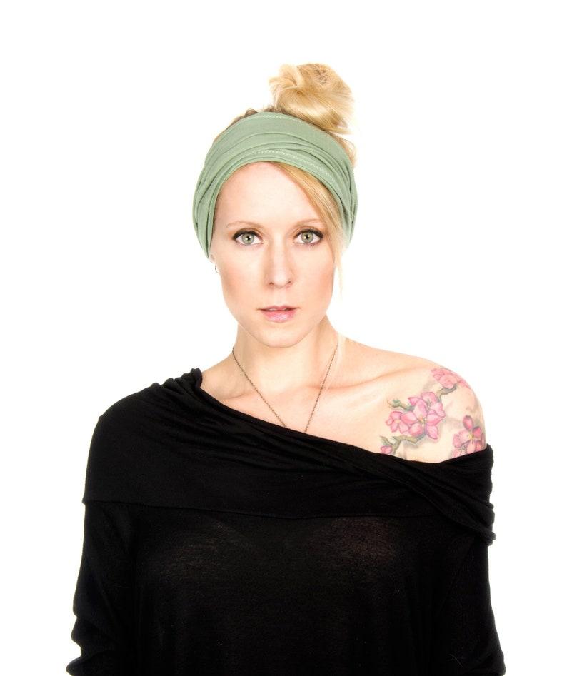 Scrunch Headband Extra Wide Headband Sage Green Headband image 0
