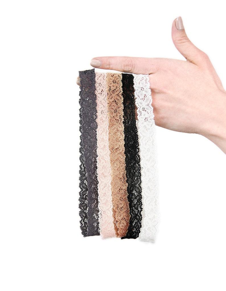 Skinny Lace Headband SET Adult Thin Head Band Stretch image 0