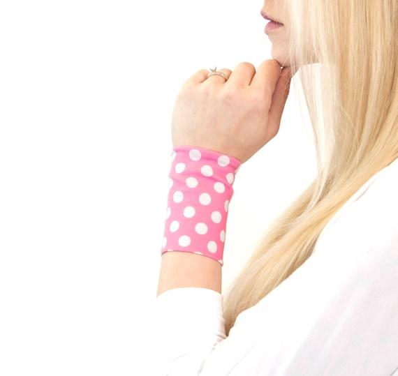 Wrist Cuff Bracelet Pink Bracelet Polka Dot Stretch Cuffs Etsy