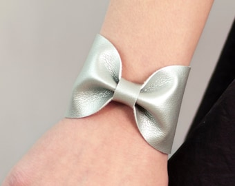 Silver Bow Bracelet, Bowtie Cuff Metallic, Vegan Leather Jewelry, Scarf Bow Tie Unique Faux Leather Womens Gift Bridal Wrist Tattoo Cover Up