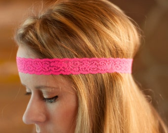 Adult Boho Headband, Hot Pink Skinny Lace Band, Stretchy Thin Head Piece, Women Stretch Forehead Hair Accessories, Fashion Head Bands