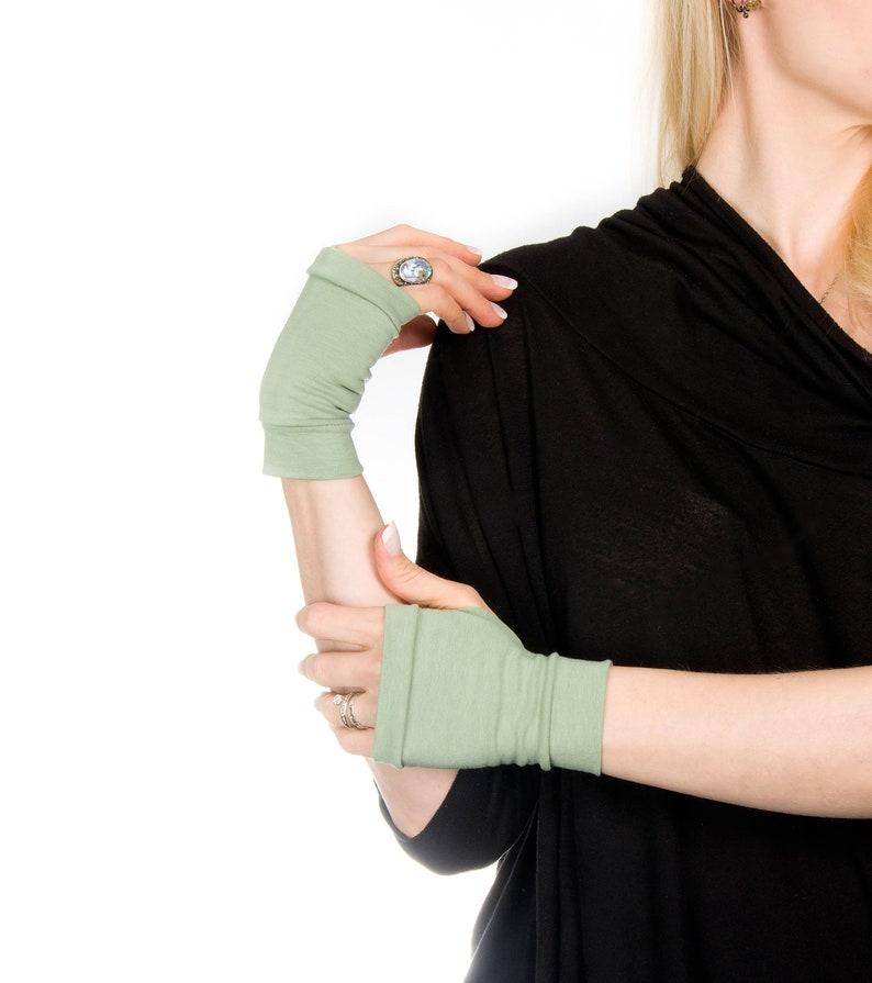 Short Gloves Short Fingerless Gloves Sage Green Fingerless image 0