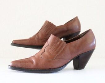 Vintage Bourbon Leather Ankle Boots Sz 7