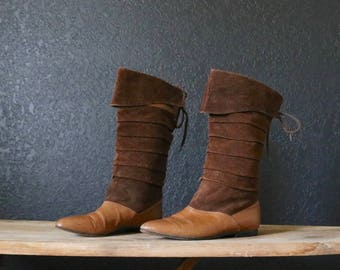 Vintage Coffee Leather Corset Laced Boots