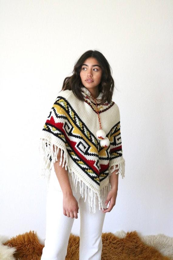70's pom pom sweater poncho