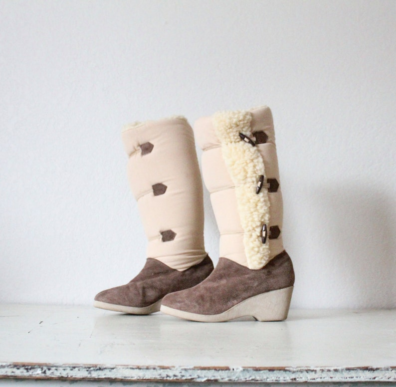 Vintage Suede Leather Toggle Boots Sz 7