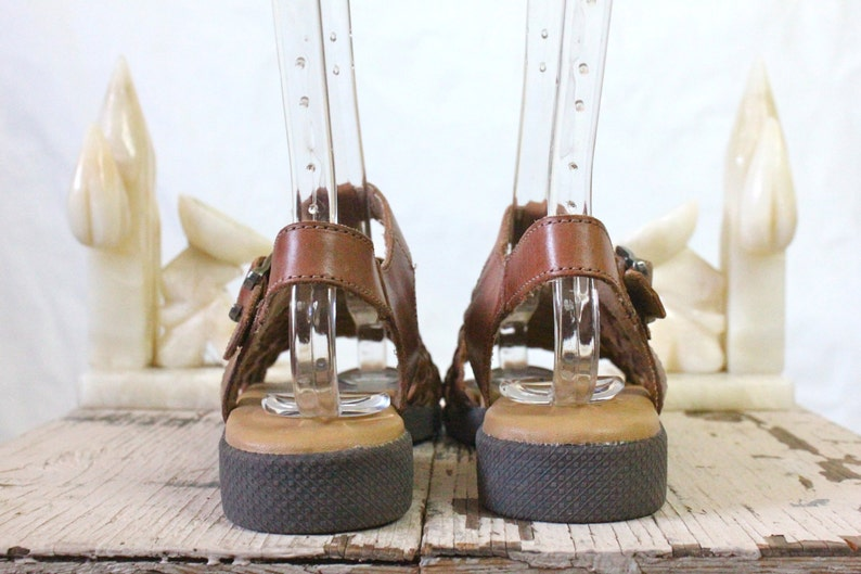 Vintage Chocolate Braided Italian Leather Sandals