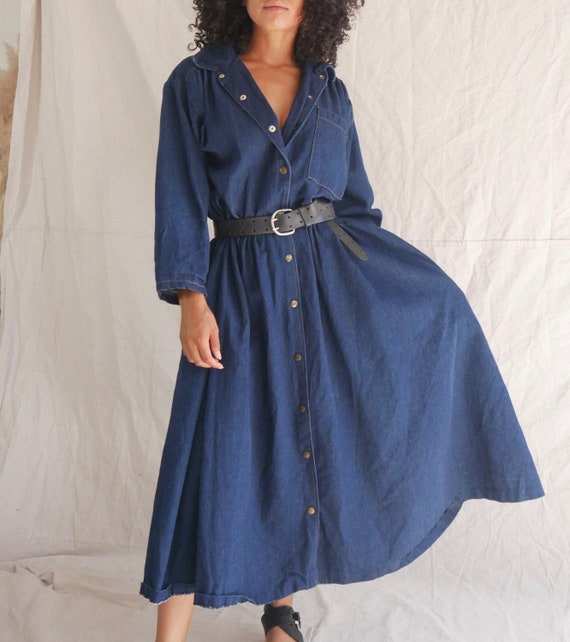 Vintage 90s denim duster dress long denim jacket V