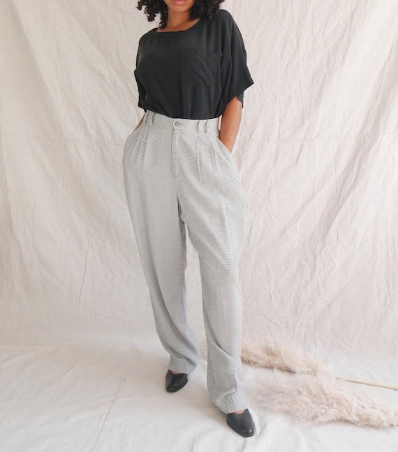 Vintage gingham pants 90s black white checkered t… - image 1