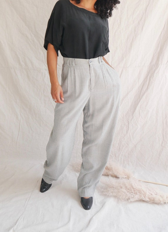 Vintage gingham pants 90s black white checkered t… - image 3