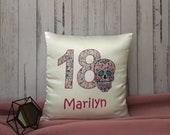 Personalized Birthday Sugar Skull Cushion Pillow Cover