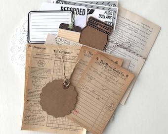 Neutral Ephemera Pack - Vintage Paper Pack - Vintage Ephemera - Junk Journal - Vintage Paper - Vintage Book Pages - Vintage Sheet Music