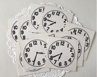 Vintage Paper Clocks, Paper Clocks, Vintage Ephemera, Vintage School Supplies, Vintage School Papers, Analog Clock, Vintage Student Papers