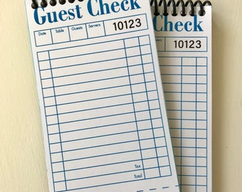 Vintage Inspired Guest Check - Guest Check Notebook - Retro Diner Check Notebook - Notepad - Notebook - Handmade Notebook