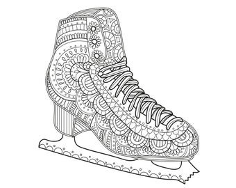 2 Printable Coloring Pages Zentangle Figure Skating Coloring | Etsy